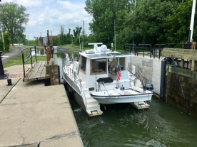entering a lock on the Chambly Canal