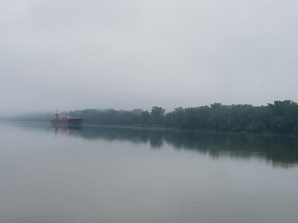 tanker in fog on the Hudson